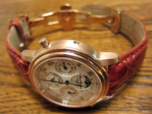 時計ベルトをモレラートのAMADEUSに交換した天賞堂 グランドコンプリケーション ピンク ゴールド