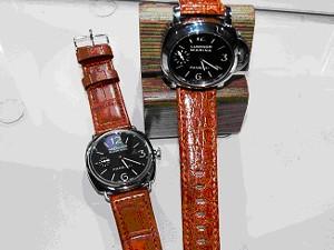 時計ベルトをモレラートのティポ パネライに交換したクロコダイル=ルミノールマリーナとマットアリゲーター=ラジオミールブラックシール