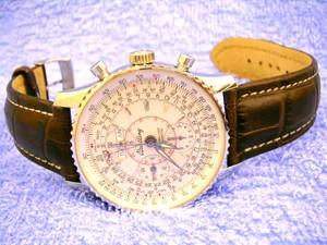 時計ベルトをモレラートのTIPO BREITLING CUOIOとPLUSに交換したブライトリング モンブリラン ダトラ