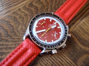 時計ベルトをモレラートのSPEEDに交換したオメガ・スピードマスター・シューマッハモデル限定モデル