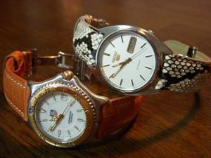 時計ベルトをモレラートのCELINEとRENOIRに交換したTAG HEUERとSEIKO 5