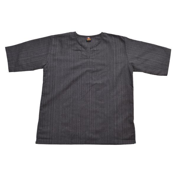 カットソー 半袖 Tシャツ レディース 5分袖 大きいサイズ コットン キーネック プルオーバー メンズ オリジナル ストライプ織り marai 14