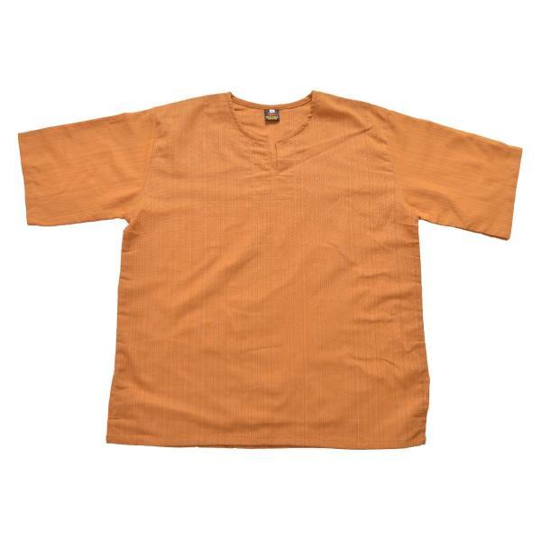 カットソー 半袖 Tシャツ レディース 5分袖 大きいサイズ コットン キーネック プルオーバー メンズ オリジナル ストライプ織り marai 15