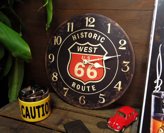 壁掛け時計 ROUTE66 ルート66 WEST ブラック アメリカ 雑貨-アメカジとアメリカ雑貨のMarble Marble(マーブルマーブル)