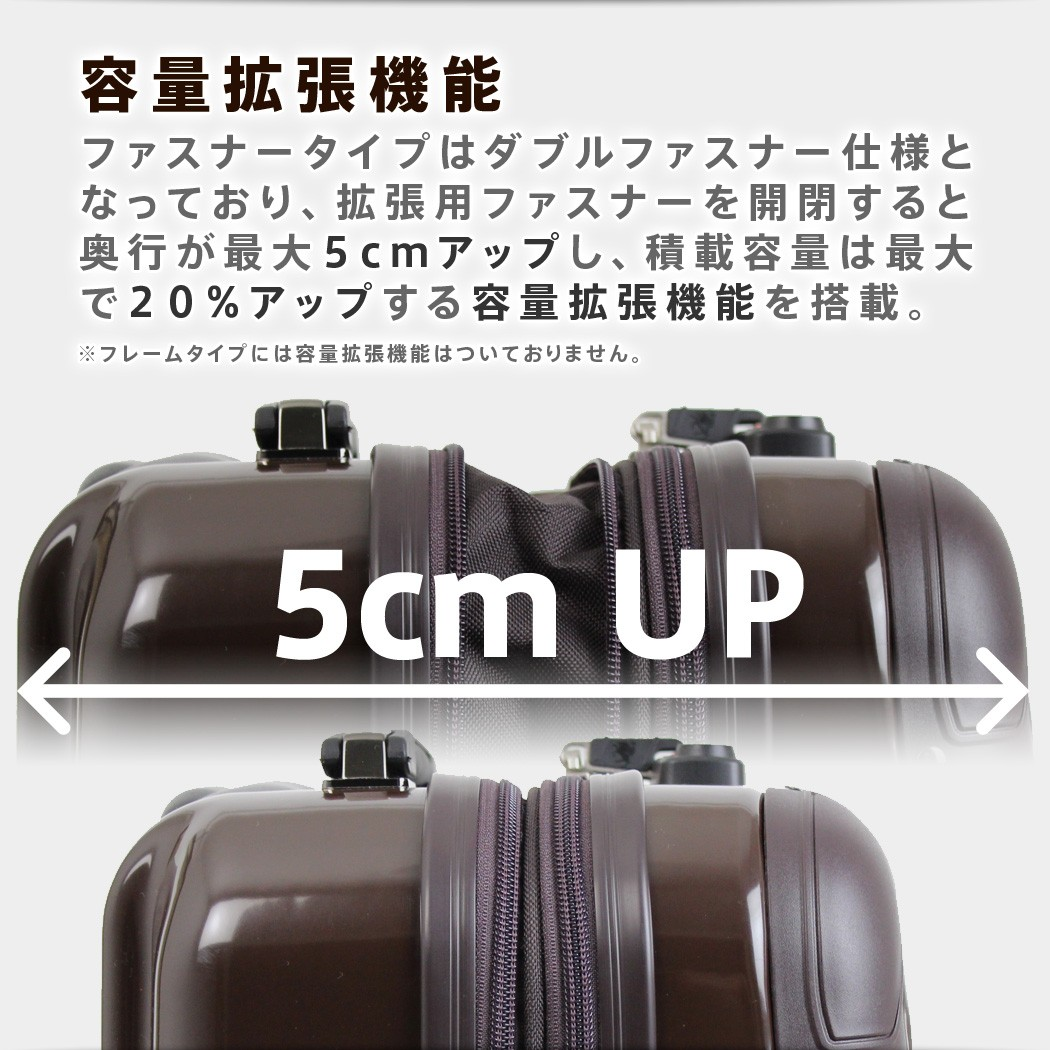 スーツケース 5022 ファスナータイプは容量拡張機能付き