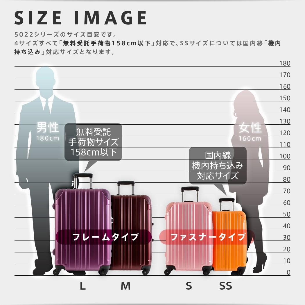 スーツケース 5022 用途に合わせた4サイズ展開 無料受託手荷物サイズ(158cm以下)&国内線機内持ち込み対応サイズ