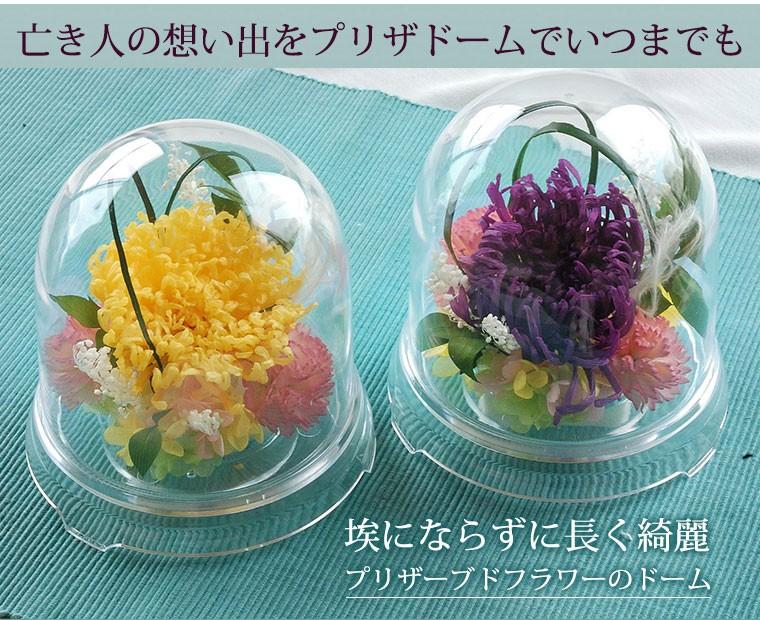 亡き人の想い出をプリザーブドフラワーのドームでずっと長く。アナスタシアという洋菊を使っているから華やかで軽やか
