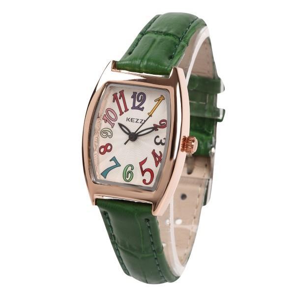 レディース ファッション 一般防水 腕時計 時計 カラー 本革ベルト ブラック グリーン ブルー|markgraf|06