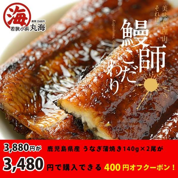 鹿児島県産うなぎ蒲焼き140g×2尾が3,480円で買えるクーポン