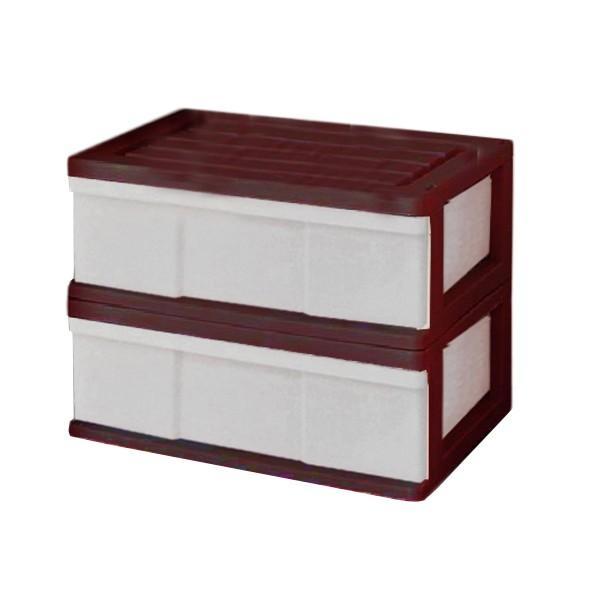 収納ケース 引き出し ワイド カラフルチェスト プラスチック 完成品 1段 2個組 幅60cm おしゃれ ブラウン 日本製|maxjapan-store|10