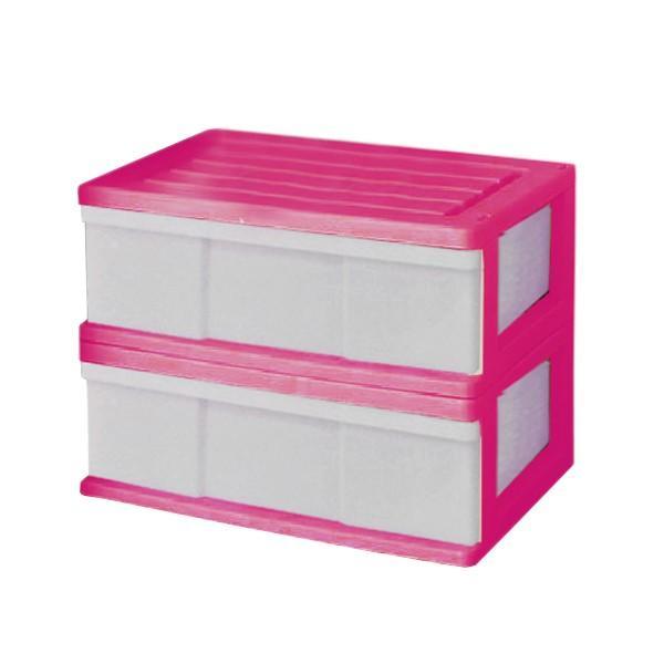 収納ケース 引き出し ワイド カラフルチェスト プラスチック 完成品 1段 2個組 幅60cm おしゃれ ブラウン 日本製|maxjapan-store|06