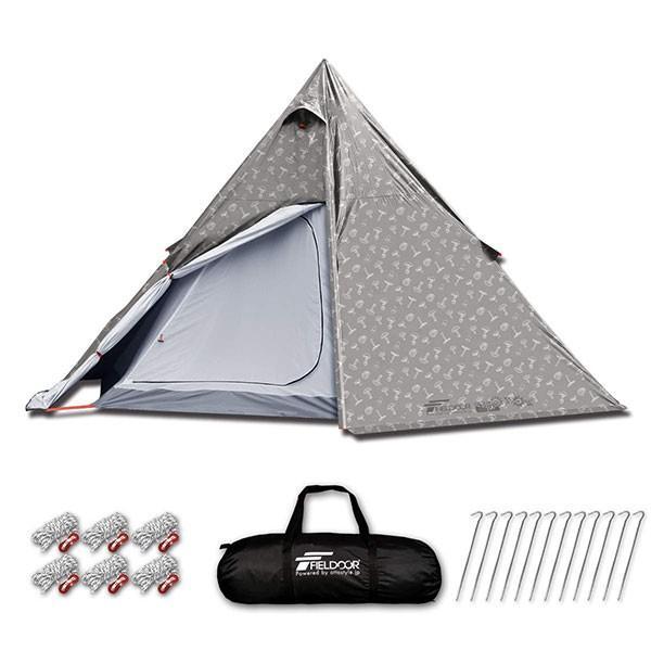 テント ワンポールテント 4人用 3人用 2人用 UVカット シルバーコーティング メッシュ フルクローズテント キャノピー インナーテント FIELDOOR 送料無料|maxshare|09