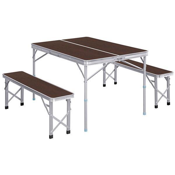 レジャーテーブル 折りたたみ テーブル レジャーテーブルセット ピクニックテーブル 110X80X70cm 収納式 椅子付 FIELDOOR 送料無料|maxshare|05