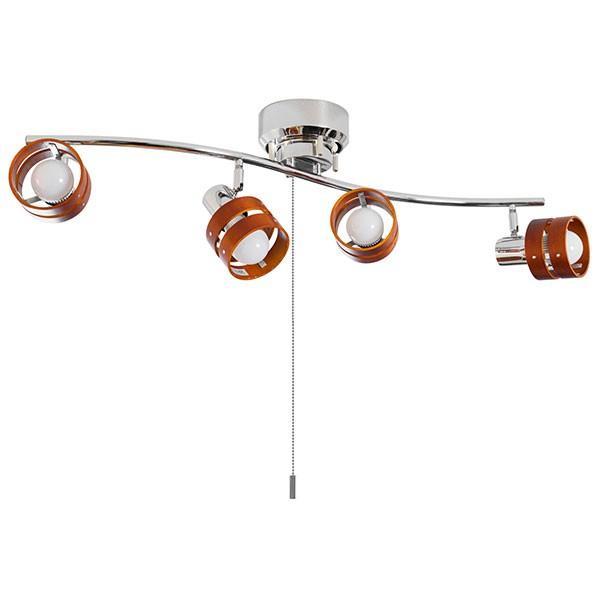 照明 シーリングライト 4灯 おしゃれ スポットライト 天井 プルスイッチ シーリング 4連スポットライト S字 LED対応 スポット木製 リビング 送料無料|maxshare|07