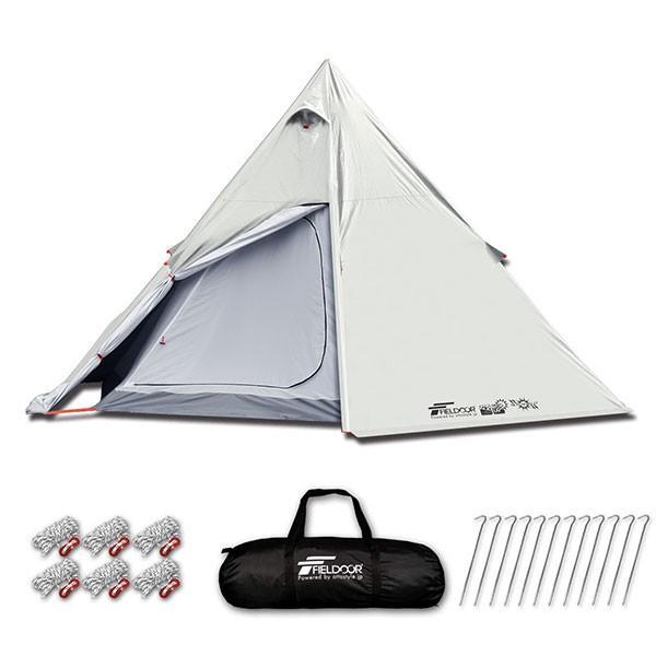 テント ワンポールテント 4人用 3人用 2人用 UVカット シルバーコーティング メッシュ フルクローズテント キャノピー インナーテント FIELDOOR 送料無料|maxshare|05