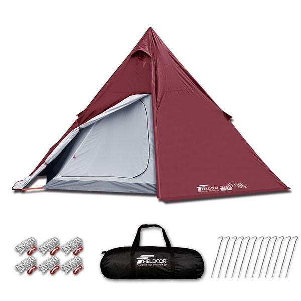 テント ワンポールテント 4人用 3人用 2人用 UVカット シルバーコーティング メッシュ フルクローズテント キャノピー インナーテント FIELDOOR 送料無料|maxshare|06
