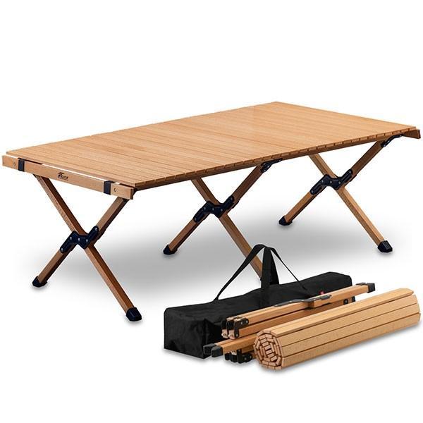 レジャーテーブル ロールテーブル 折りたたみ 木製 ウッド 120cm アウトドア テーブル ローテーブル キャンプ ピクニックテーブル FIELDOOR 送料無料|maxshare|15