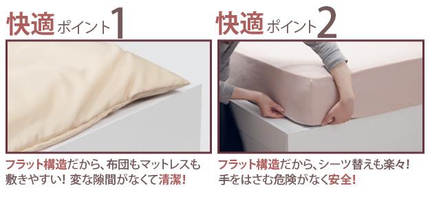 布団も敷けるフラットな床板のベッド