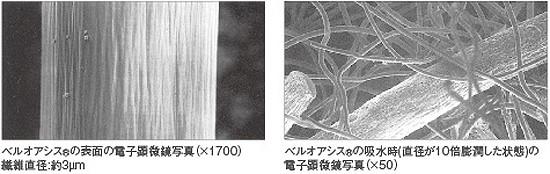 尿の吸水力が優れるベルオアシスの顕微鏡写真