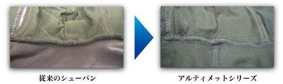 新旧シューバンの違い フラットな縫製