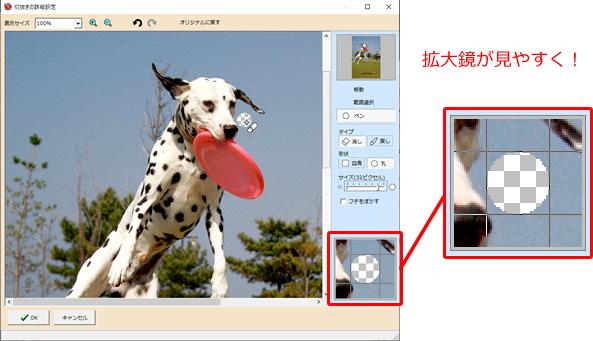 CD22設定画面での拡大鏡見本画像