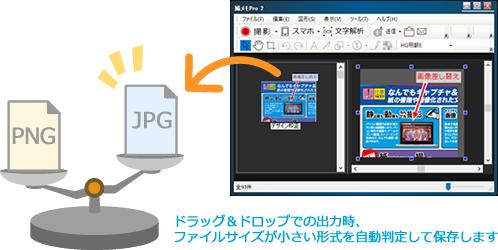 ドラッグ&ドロップでの出力時、ファイルサイズが小さい形式を自動判断して保存します
