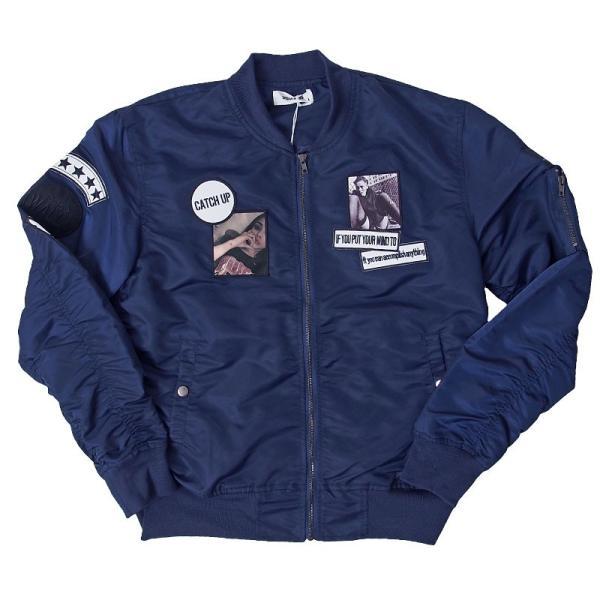 MA1 メンズ MA-1 ブルゾン ミリタリージャケット ワッペン付き ナイロンツイル フライトジャケット 秋冬 menscasual 18