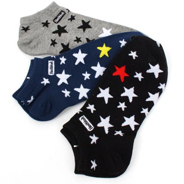 ショートソックス メンズ 靴下 3足セット 3足組み Healthknit ヘルスニット アンクルソックス スニーカーソックス ボーダー ロゴ 星条旗 アメリカ 星柄 チェック|menscasual|25