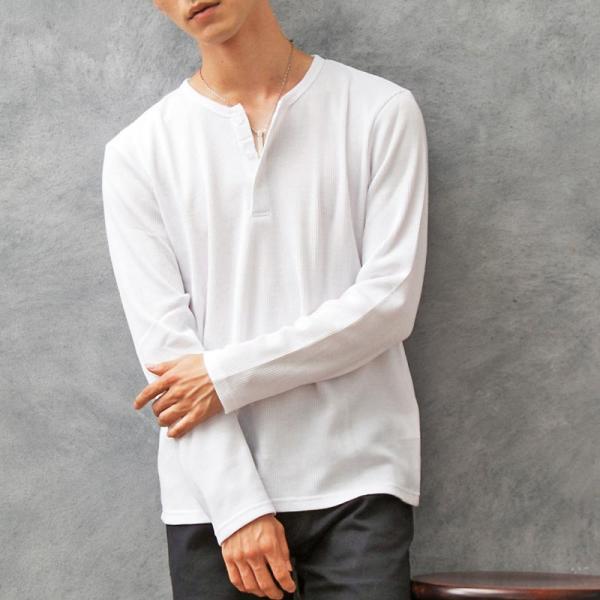 ロンT メンズ Tシャツ 長袖 ヘンリーネック サーマル素材 ワッフル素材 ロングTシャツ 無地 クルーネック ロングTシャツ カットソー トップス|menscasual|14