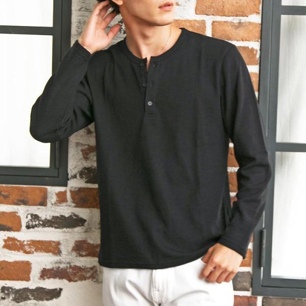 ロンT メンズ Tシャツ 長袖 ヘンリーネック サーマル素材 ワッフル素材 ロングTシャツ 無地 クルーネック ロングTシャツ カットソー トップス|menscasual|15