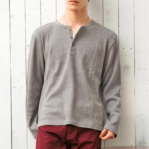 ロンT メンズ Tシャツ 長袖 ヘンリーネック サーマル素材 ワッフル素材 ロングTシャツ 無地 クルーネック ロングTシャツ カットソー トップス|menscasual|16