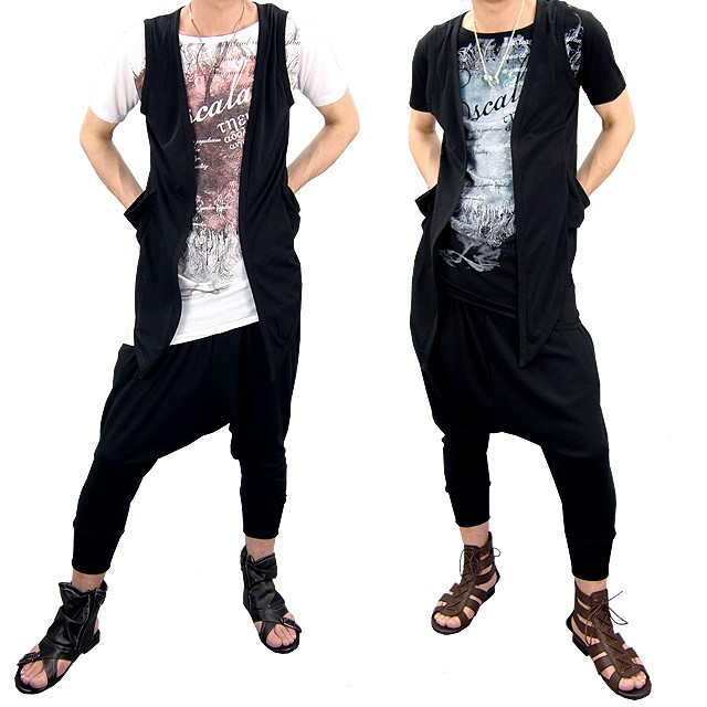 あすつく,メンズ,メンズファッション,メンズカジュアル,通販,ジレ,ベスト,キレカジ,別注,3点セット,Tシャツ,ティーシャツ,カットソー,サルエルパンツ,TP-08