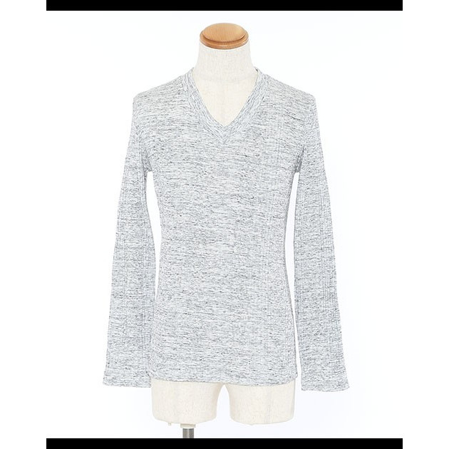 カットソー メンズ tシャツ 長袖 vネック テレコ 杢 ロンt おしゃれ 20代 30代 40代 50代 メンズスタイル menz-style menz-style 25
