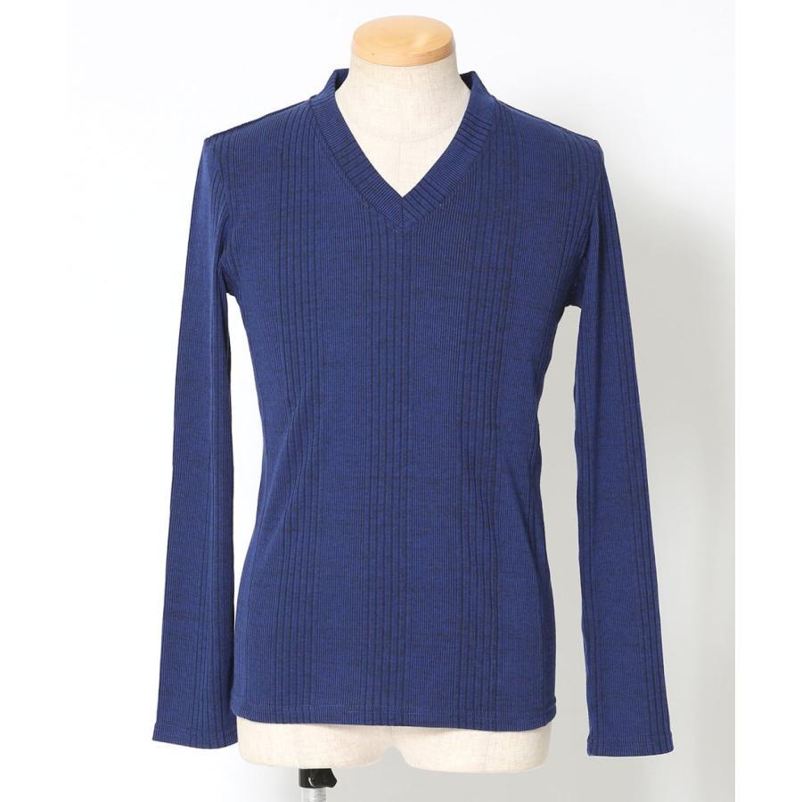 カットソー メンズ tシャツ 長袖 vネック テレコ 杢 ロンt おしゃれ 20代 30代 40代 50代 メンズスタイル menz-style menz-style 28