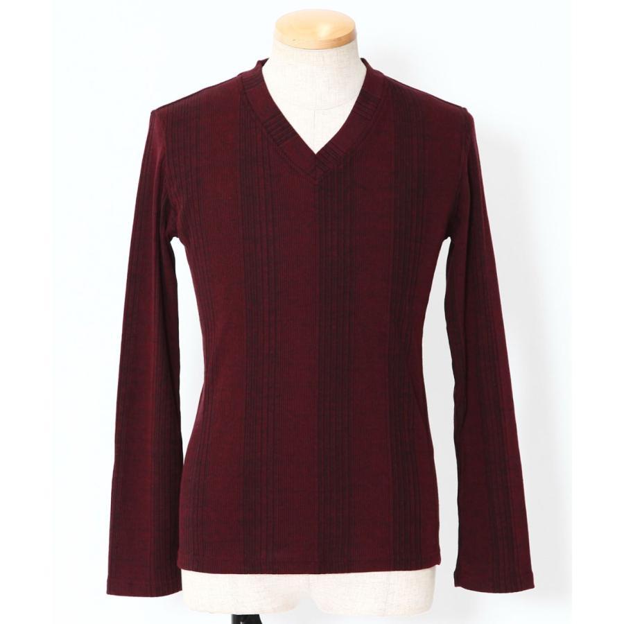 カットソー メンズ tシャツ 長袖 vネック テレコ 杢 ロンt おしゃれ 20代 30代 40代 50代 メンズスタイル menz-style menz-style 21