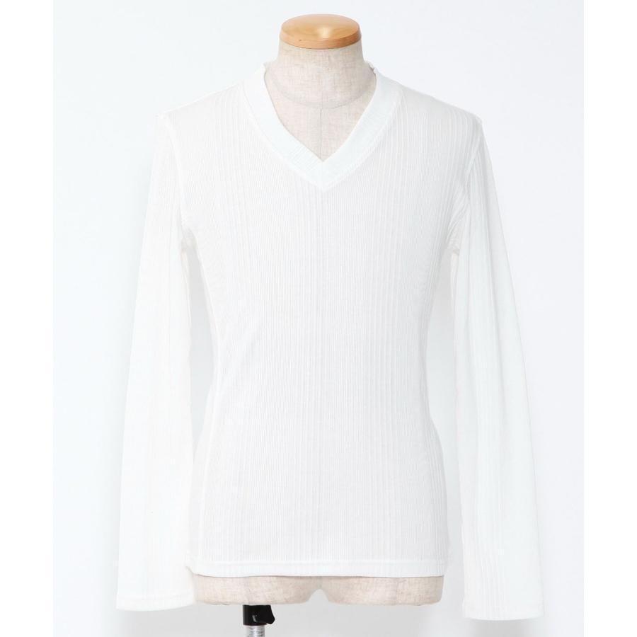 カットソー メンズ tシャツ 長袖 vネック テレコ 杢 ロンt おしゃれ 20代 30代 40代 50代 メンズスタイル menz-style menz-style 23