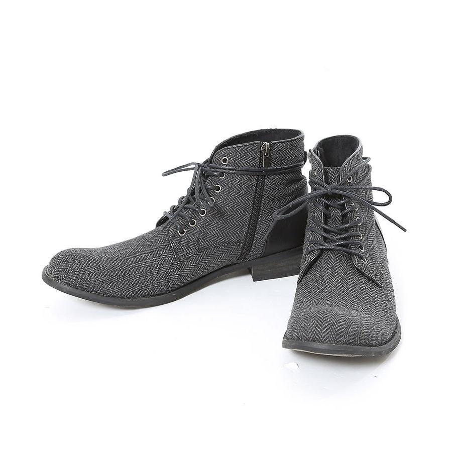 ブーツ メンズ ツィード サイドジップ PU レザー 靴 モテ おしゃれ かっこいい 30代 40代 50代 MENZ-STYLE メンズスタイル|menz-style|19