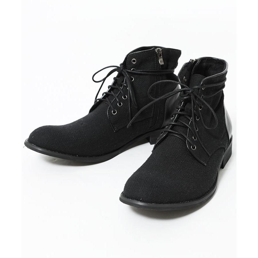 ブーツ メンズ ツィード サイドジップ PU レザー 靴 モテ おしゃれ かっこいい 30代 40代 50代 MENZ-STYLE メンズスタイル|menz-style|22