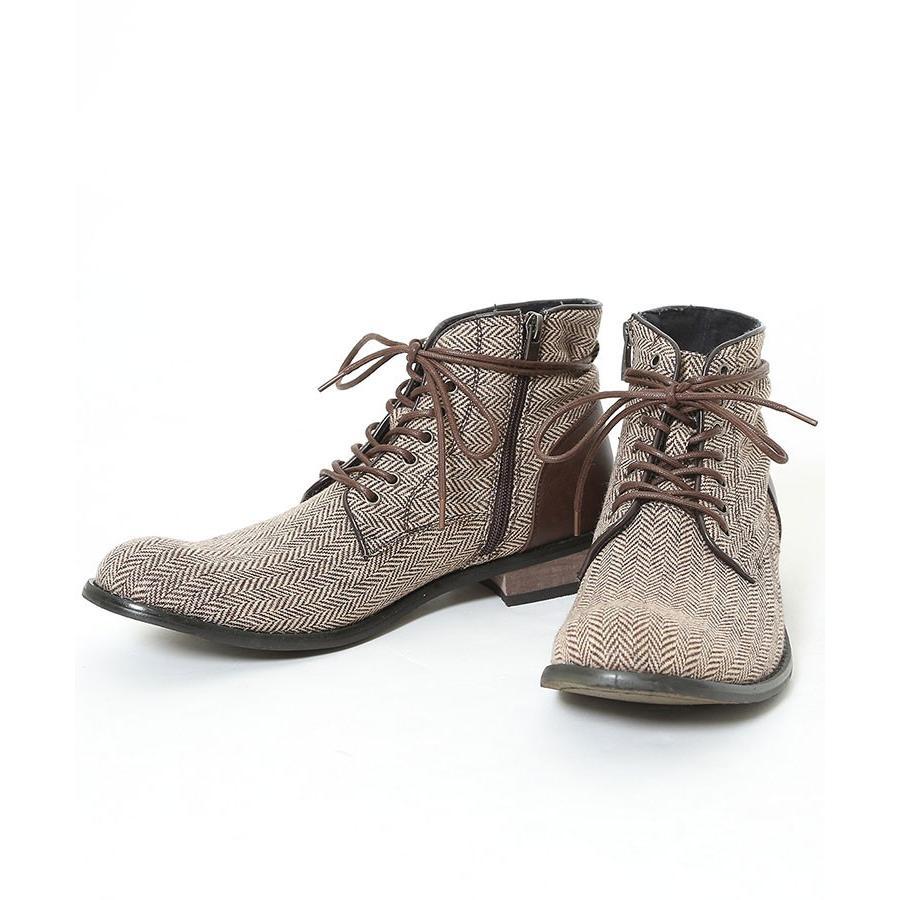 ブーツ メンズ ツィード サイドジップ PU レザー 靴 モテ おしゃれ かっこいい 30代 40代 50代 MENZ-STYLE メンズスタイル|menz-style|20