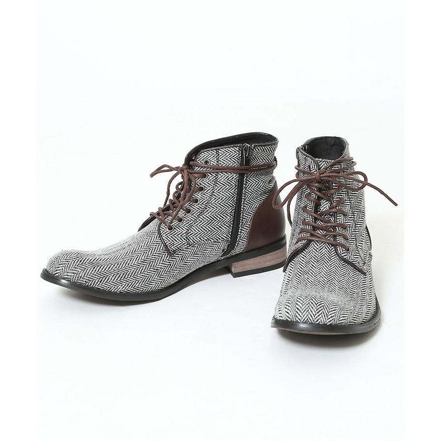 ブーツ メンズ ツィード サイドジップ PU レザー 靴 モテ おしゃれ かっこいい 30代 40代 50代 MENZ-STYLE メンズスタイル|menz-style|21