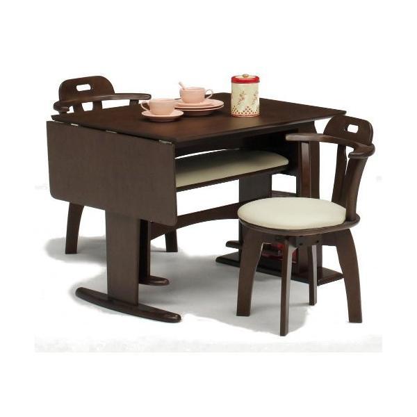 ダイニングテーブルセット ダイニングセット ダイニングテーブル 食卓 4点セット 伸縮 肘付 ラック付 回転チェア|meuble|06