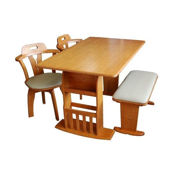 ダイニングテーブルセット ダイニングセット ダイニングテーブル 食卓 4点セット 伸縮 肘付 ラック付 回転チェア|meuble|05