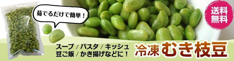 岩手県遠野産の秘伝豆の冷凍むき枝豆。枝豆ポタージュスープや枝豆パスタ、ずんだ餡作りなどに幅広くお使いいただける便利な冷凍むき枝豆です。