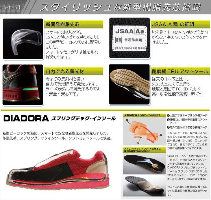 ディアドラ安全作業靴・ピーコック