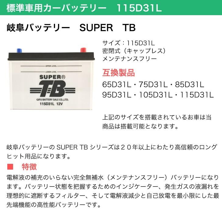 標準車用カーバッテリー 115D31L