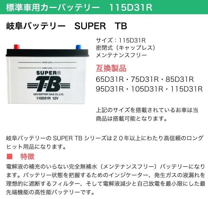 標準車用カーバッテリー 115D31R