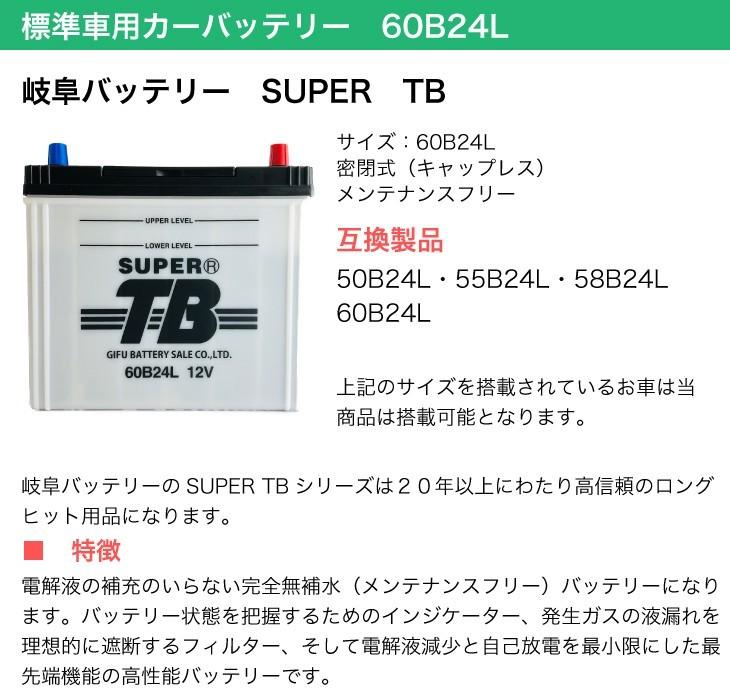 標準車用カーバッテリー 60B24L