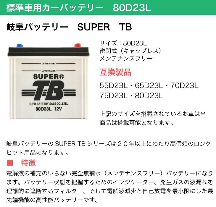 標準車用カーバッテリー 80D23L