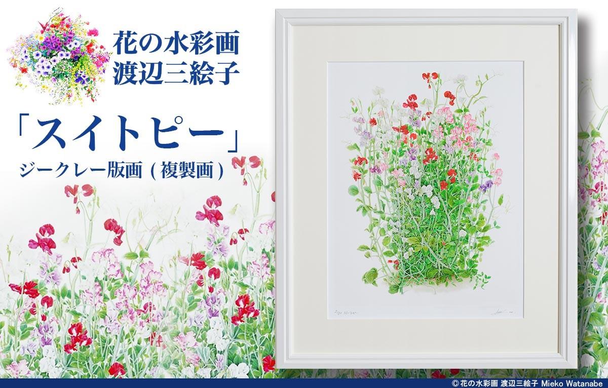 渡辺三絵子 花の水彩画 ジークレー版画(複製画)「スイトピー」