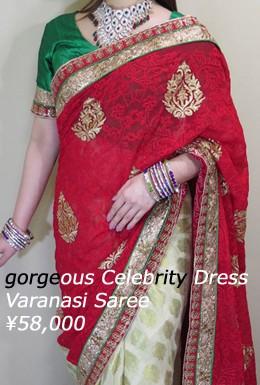 gorgeous celebrity dress 肌を美しく見せる人気の赤 豪華サリー